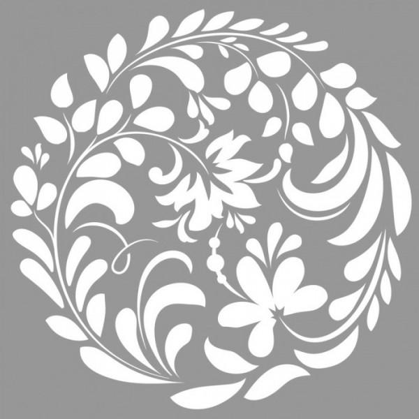 Floral Daire  Stencil Tasarımı 30 x 30 cm
