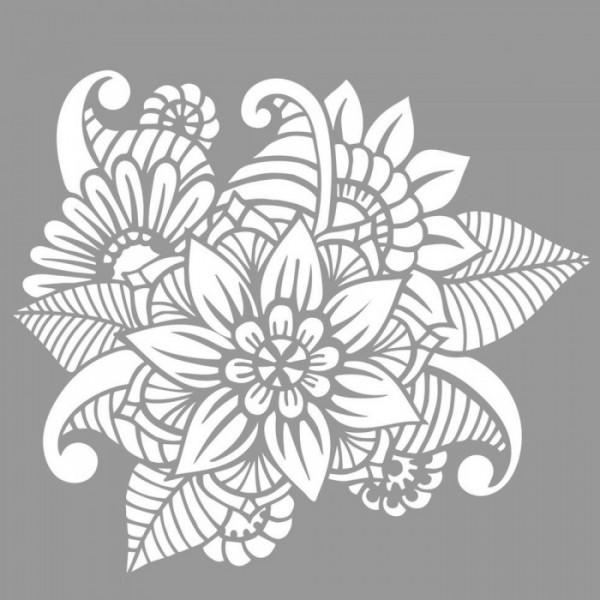 Floral Doodle Stencil Tasarımı 30 x 30 cm