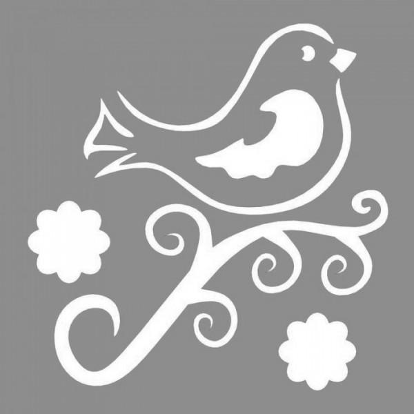 Floral Kuş Desen Stencil Tasarımı 30 x 30 cm