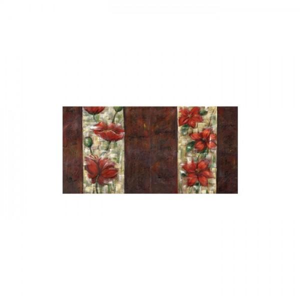 Floral Red 2 Parça Kanvas Tablo 80X40 Cm