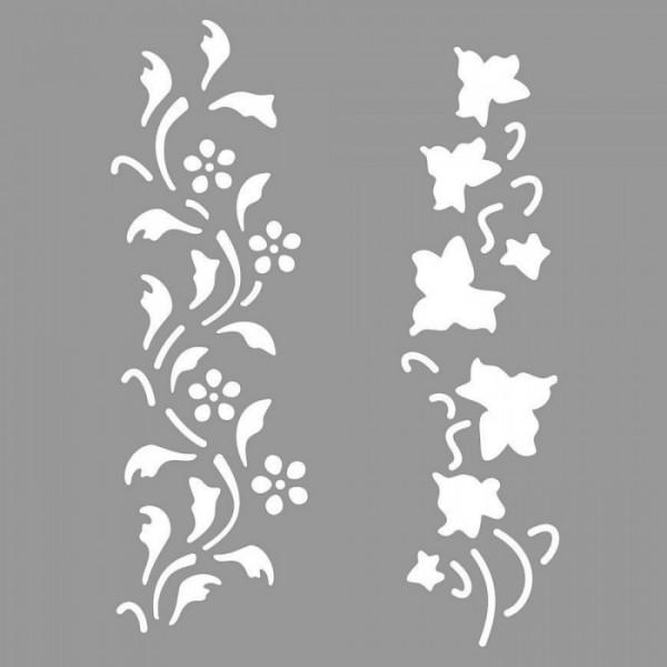 Floral Skethes Stencil Tasarımı 30 x 30 cm