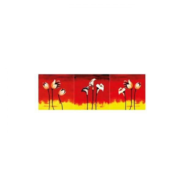 Flower In Red 3 Parça Kanvas Tablo 40X120 Cm