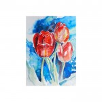 Flowers In Blue Kanvas Tablo 50X70 Cm