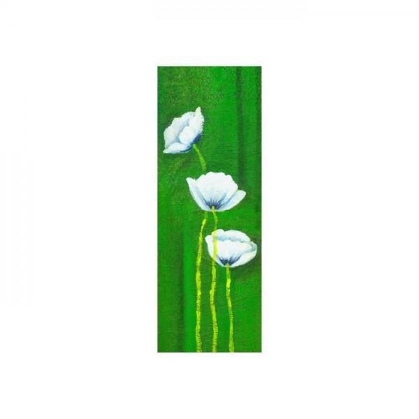 Flowers in Green Kanvas Tablo 40X120 Cm