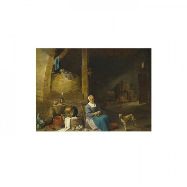 Follower of David Teniers the Younger - An Old Woman Peeling Pears 50x70 cm