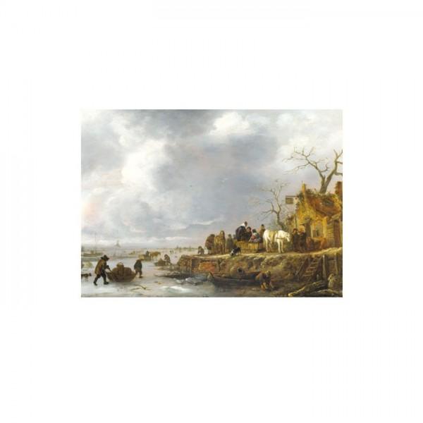 Follower of Isack Van Ostade - An Inn by a Frozen River 50x70 cm