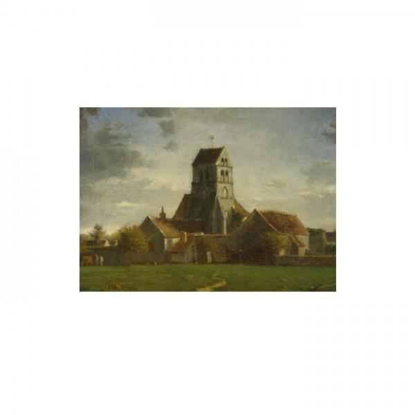 Follower of Jean-François Millet - Landscape with Buildings 50x70 cm