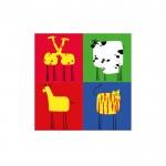 Four Animal 4 Parça Kanvas Tablo 70X70 Cm