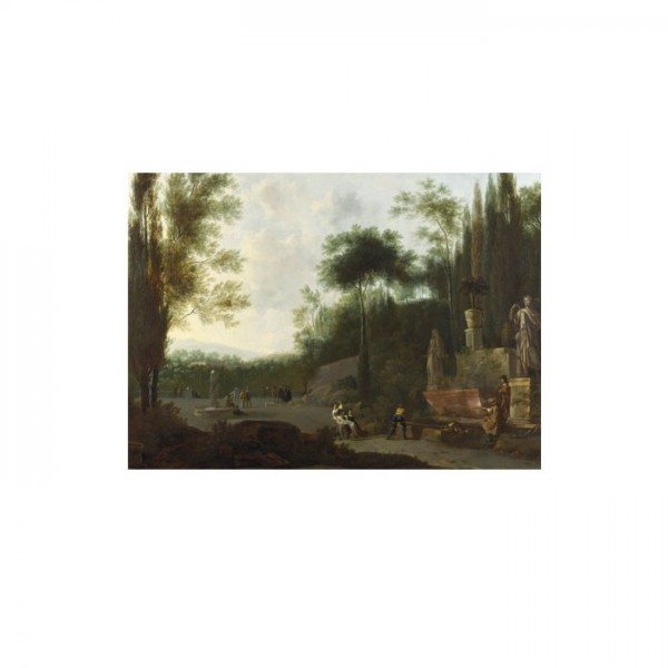 Frederick de Moucheron - Figures in an Italian Garden 50x70 cm