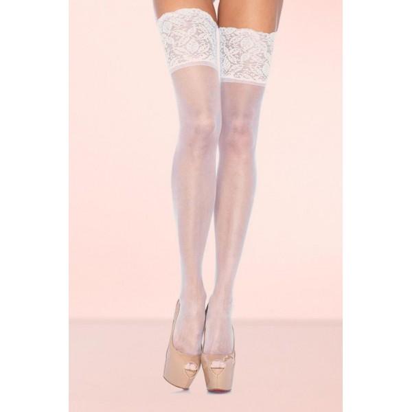 Geniş Dantelli Jartiyer Çorabı Beyaz