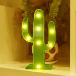 Sevimli Kaktüs  Dekoratif Pilli Led Işıklı Masa Gece Lambası