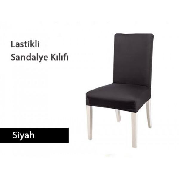 Likralı Esnek Scuba Kumaş Sandalye Kılıfı - Siyah