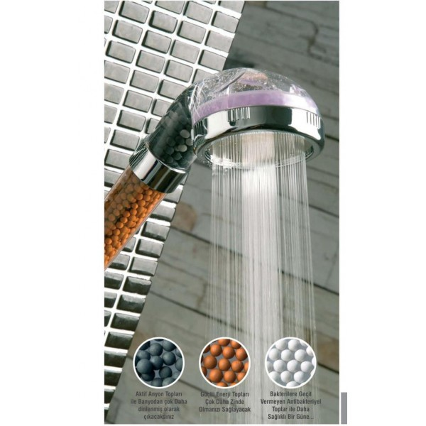%50 Su Tasarruflu ve Arıtmalı Doğal Taşlı Banyo El Duş Başlığı